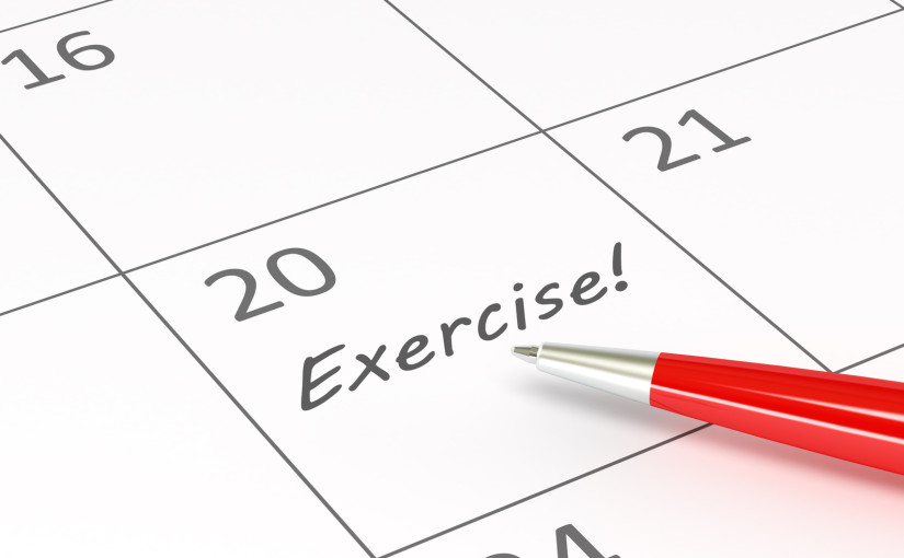 Exercise words  on a calendar